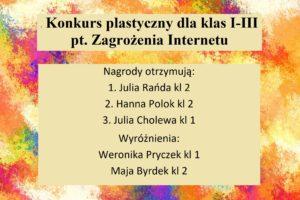 Konkurs plastyczny pt. Zagrożenia Internetu