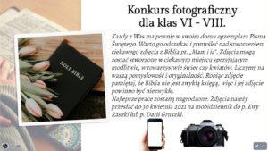 TYDZIEŃ BIBLIJNY- KONKURS KLAS VI-VIII
