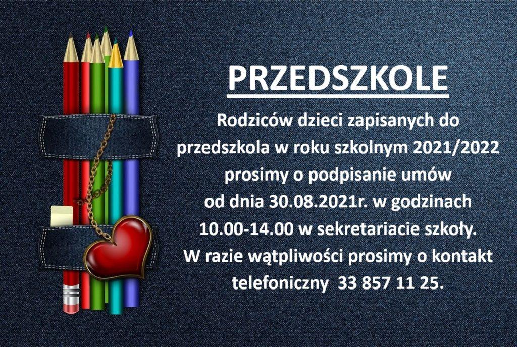 Prośba o podpisanie umow rodziców przedszkolaków.
